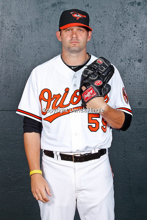 February 26, 2011; Sarasota, FL, USA; Baltimore Orioles pitcher Josh Rupe (59) poses during photo day at Ed Smith Stadium.  Mandatory Credit: Derick E. Hingle