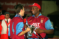 Ugo Ehiogu and Gareth Southgate (Villa) with the trophy. Leeds United v Aston Villa League Cup Final 1996 @ Wembley 24/03/96 Credit : Colorsport / Andrew Cowie