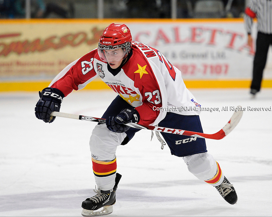 TRENTON, ON - Oct 3, 2014 : Ontario Junior Hockey League game action between Wellington and Trenton, Dylan Mascarin #23 of the Wellington Dukes during the second period<br /> (Photo by Amy Deroche/ OJHL Images)