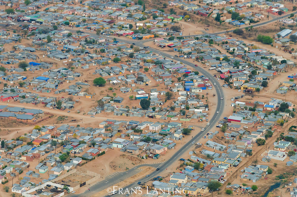 Poor neighborhood on outskirts of Windhoek (aerial), Namibia