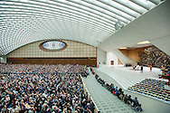 Vatican City dec 19th 2015, pope's audience to railway employers and workers. In the picture the John Paul II Hall