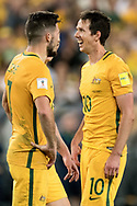 SYDNEY, NSW- NOVEMBER 15: Australian Robbie Kruse (10) and Australian Mathew Leckie (7) happy after the goal of Australian Mile Jedinak (15) at the Soccer World Cup Qualifier between Australia and Honduras on November 10, 2017. (Photo by Steven Markham/Icon Sportswire)