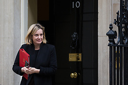 London, UK. 15th January, 2019. Amber Rudd MP, Secretary of State for Work and Pensions, leaves 10 Downing Street following a Cabinet meeting on the day of the vote in the House of Commons on Prime Minister Theresa May's proposed final Brexit withdrawal agreement.