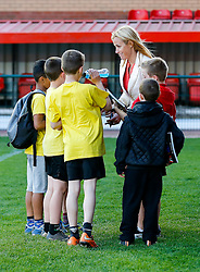 Bristol Sport Chief Communications Officer Lisa Knights signs autographs for kids! - Photo mandatory by-line: Rogan Thomson/JMP - Mobile: 07966 386802 - 22/04/2015 - SPORT - Rugby Union - Bristol, England - Ashton Gate - Bristol Sport Schools Cup Rugby.