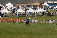 Warwick, N.Y. - Runners take off as the starters' gun fires at the beginning of a girls' race at the New York State Public High School Athletic Association cross country championships at Sanfordville Elementary School on Nov. 11, 2006.<br />