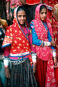 Rajasthani girls in traditional dress..