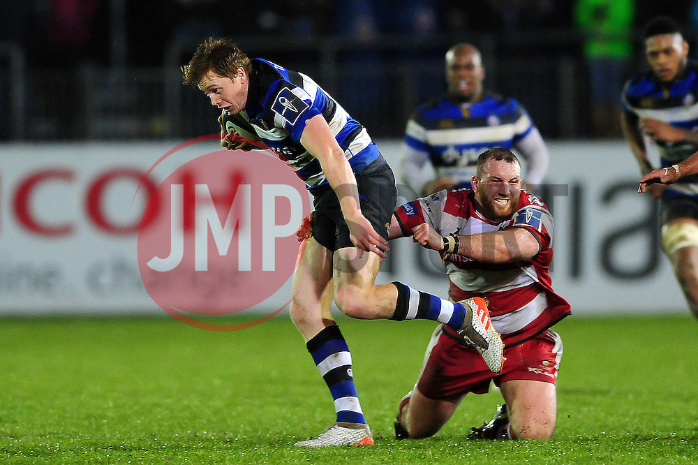 Harry Davies of Bath Rugby looks to get past Yann Thomas of Gloucester Rugby - Mandatory byline: Patrick Khachfe/JMP - 07966 386802 - 27/01/2017 - RUGBY UNION - The Recreation Ground - Bath, England - Bath Rugby v Gloucester Rugby - Anglo-Welsh Cup.