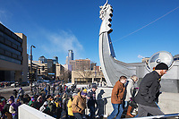 Minneapolis, Minnesota - Dec 30: Fans flock to US Bank Stadium on Vikings game day with a temperature of -17 degrees farenheit in Minneapolis, Minnesota on Dec 30th, 2017. The new stadium will host  Super Bowl LII on February 4, 2018. (Photo Jim Kruger/Kruger-images.com)