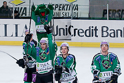 Team HDD Tilia Olimpija after ice-hockey match between HDD Tilia Olimpija and HK Acroni Jesenice in 26th Round of EBEL league, on December 10, 2010 at Hala Tivoli, Ljubljana, Slovenia. (Photo By Matic Klansek Velej / Sportida.com)