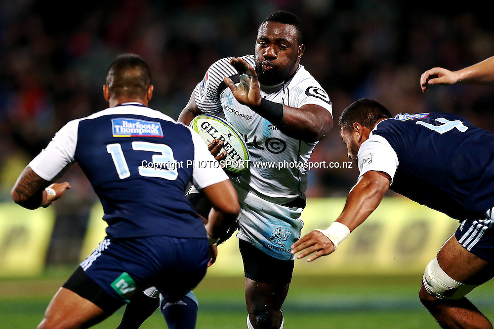 Tendai Mtawarira of the Sharks charges at Pita Ahki of the Blues. Super Rugby rugby union match, Blues v Sharks at North Harbour Stadium, Auckland, New Zealand. Friday 23rd May 2014. Photo: Anthony Au-Yeung / photosport.co.nz