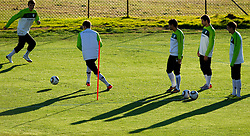 Nejc Pecnik, Bostjan Cesar, Aleksander Radosavljevic, Dalibor Stevanovic and Branko Ilic of Slovenia during a training session at  Hyde Park High School Stadium on June 16, 2010 in Johannesburg, South Africa.  (Photo by Vid Ponikvar / Sportida)