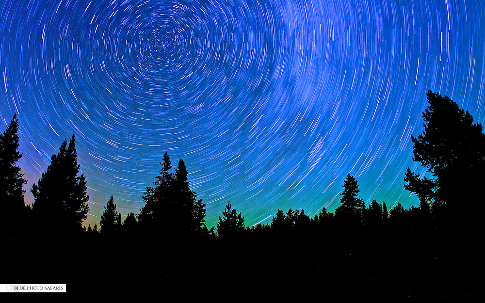 Star trails over Yellowstone