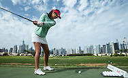 Amateur golfer on The Academy Practice driving range  at The Address Montgomerie Golf Club, Dubai, United Arab Emirates.  27/01/2016. Picture: Golffile | David Lloyd<br /> <br /> All photos usage must carry mandatory copyright credit (© Golffile | David Lloyd)