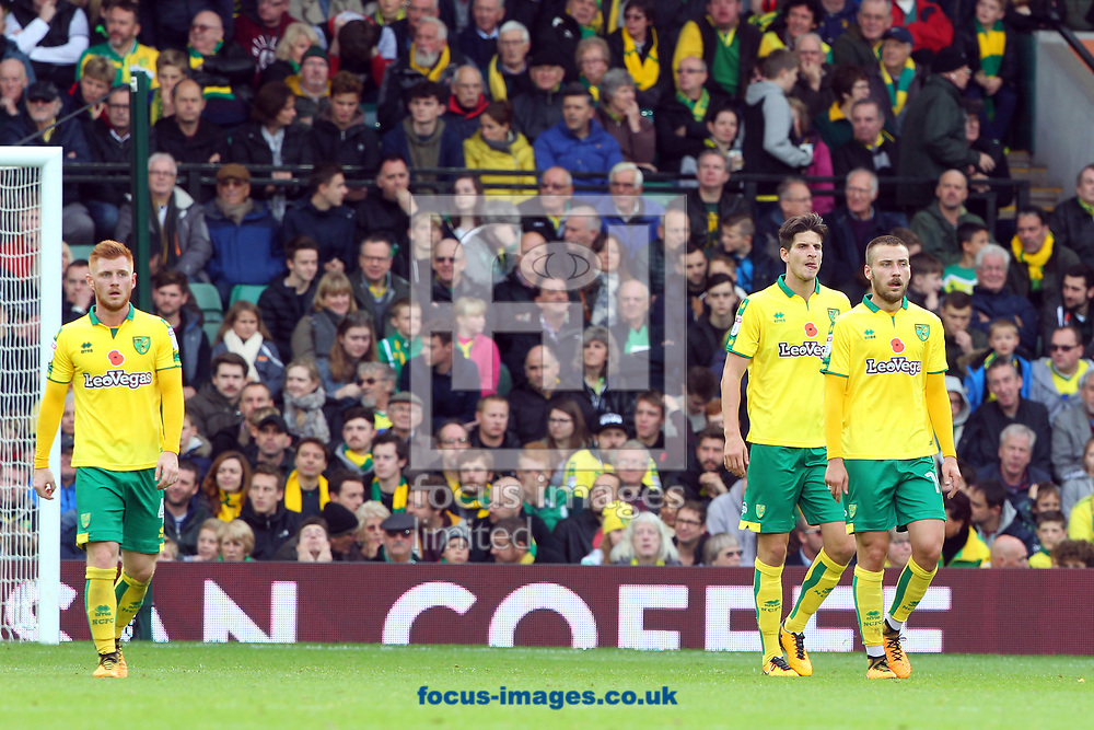 The Norwich players look dejected after conceding their side&rsquo;s 1st goal during the Sky Bet Championship match at Carrow Road, Norwich<br /> Picture by Paul Chesterton/Focus Images Ltd +44 7904 640267<br /> 28/10/2017