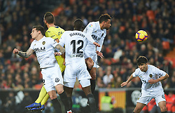 January 26, 2019 - Valencia, Valencia, Spain - Santi Mina, Mouctar Diakhaby, Francis Coquelin of Valencia CF during the La Liga Santander match between Valencia and Villarreal at Mestalla Stadium on Jenuary 26, 2019 in Valencia, Spain. (Credit Image: © AFP7 via ZUMA Wire)