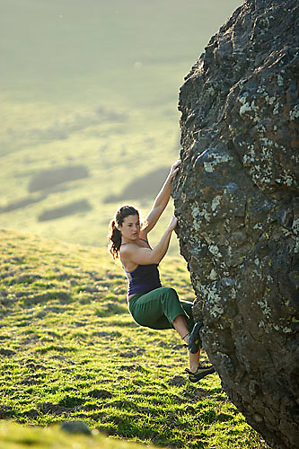 Mandi Finger bouldering at the Nut Tree Boulders. Vacaville, CA<br />