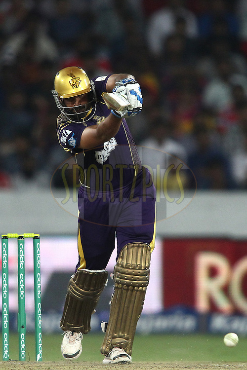Yusuf Pathan of the Kolkata Knight Riders drives a delivery for a run during the first semi final match of the Oppo Champions League Twenty20 between the Kolkata Knight Riders and the Hobart Hurricanes held at the Rajiv Gandhi Cricket Stadium, Hyderabad, India on the 2nd October 2014<br /> <br /> Photo by:  Shaun Roy / Sportzpics/ CLT20<br /> <br /> <br /> Image use is subject to the terms and conditions as laid out by the BCCI/ CLT20.  The terms and conditions can be downloaded here:<br /> <br /> http://sportzpics.photoshelter.com/gallery/CLT20-Image-Terms-and-Conditions-2014/G0000IfNJn535VPU/C0000QhhKadWcjYs
