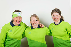 Anamarija Lampic, Nika Razingar and Alenka Cebasek during the outfitting of the Slovenian Olympic Team for PyeongChang 2018, on January 29, 2018 in GH Union, Ljubljana, Slovenia. Photo by Urban Urbanc / Sportida