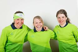 Anamarija Lampic, Nika Razingar and Alenka Cebasek during the outfitting of the Slovenian Olympic Team for PyeongChang 2018, on January 29, 2018 in GH Union, Ljubljana, Slovenia. Photo by Urban Urbanc / Sportida