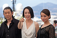 Nagase Masatoshi, Director Naomi Kawase and Ayame Misaki at the Hikari (Vers La Lumiere / Radiance) photo call at the 70th Cannes Film Festival Tuesday 23rd May 2017, Cannes, France. Photo credit: Doreen Kennedy