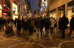 LILLE , FRANCE - FEB-22-2003 - Lille , France has been named the 2004 European Capital of Culture. People walk along a pedestrian street in the shopping district of Lille.(PHOTO © JOCK FISTICK)..