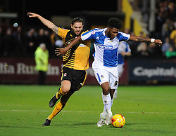 Ellis Harrison of Bristol Rovers is challenged by Greg Taylor of Cambridge United - Mandatory byline: Neil Brookman/JMP - 07966 386802 - 30/10/2015 - FOOTBALL - The Abbey Stadium - Cambridge, England - Cambridge United v Bristol Rovers - Sky Bet League Two