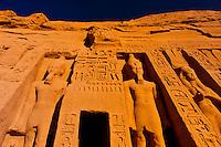 The Temple of Hathor and Nefertari, Abu Simbel (archaeological site) on Lake Nasser, Egypt