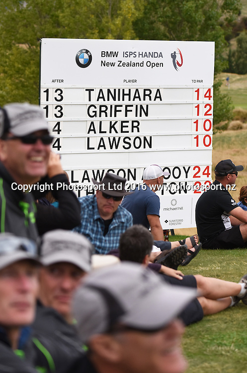 Scoreboard during Round 3 at The Hills during 2016 BMW ISPS Handa New Zealand Open. Saturday 12 March 2016. Arrowtown, New Zealand. Copyright photo: Andrew Cornaga / www.photosport.nz