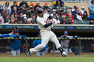 Brian Dozier #2 of the Minnesota Twins bats during a game against the New York Mets on April 13, 2013 at Target Field in Minneapolis, Minnesota.  The Mets defeated the Twins 4 to 2.  Photo: Ben Krause