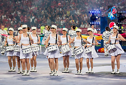Drummers perform prior to the UEFA Champions League final football match between Liverpool and Real Madrid at the Olympic Stadium in Kiev, Ukraine on May 26, 2018.Photo by Sandi Fiser / Sportida