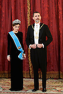 King Felipe VI of Spain, Queen Letizia of Spain attended a Gala dinner at the Royal Palace on February 22, 2017 in Madrid, Spain