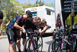 CANYON//SRAM Racing mechanic Jochen Lamade makes a last-minute adjustment on the bike of Barbara Guarischi (ITA) before Stage 9 of the Giro Rosa - a 122.3 km road race, between Centola fraz. Palinuro and Polla on July 8, 2017, in Salerno, Italy. (Photo by Balint Hamvas/Velofocus.com)