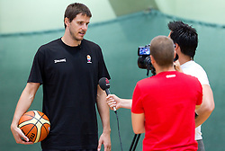 Bostjan Nachbar interviewed by Sport TV at practice session of Slovenia basketball team on media day on July 16, 2010 at Rogla sports center, Slovenia. (Photo by Vid Ponikvar / Sportida)