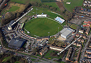 aerial photograph of County Ground, Nottingham Rd, Derby DE21 6DA England UK home of Derbyshire County Cricket Club