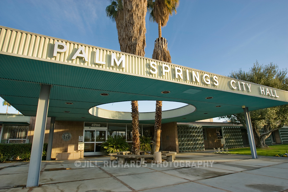 Palm Springs City Hall designed by Albert Frey in 1952 is still a landmark for fans of mid-century modern architecture traveling through Palm Springs, CA. .