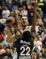 BELGRADE (SERBIA), March 2, 2017  Crvena Zvezda's Marko Simonovic (C) vies with Brose Bamberg's Jerel Mcneal during Regular Season Round 24 Euroleague basketbal match between Crvena Zvezda and Brose Bamberg in Belgrade on March 2, 2017. Crvena Zvezda won 74:60  (Credit Image: © Predrag Milosavljevic/Xinhua via ZUMA Wire)