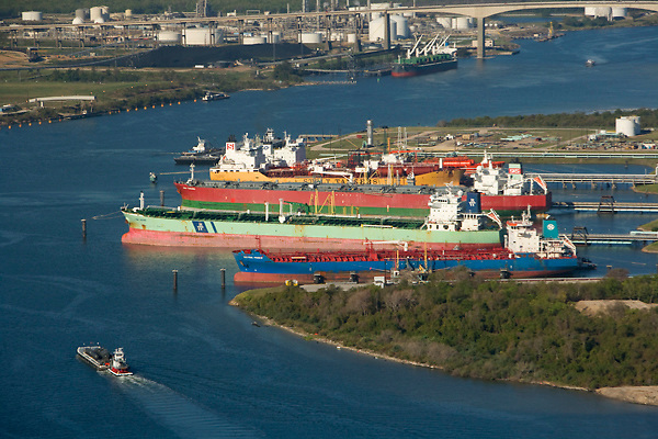 Aerial view of docked tankers at the Port of Houston