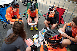 Rally Cycling team talk before Stage 3 of 2020 Santos Women's Tour Down Under, a 109.1 km road race from Nairne to Stirling, Australia on January 18, 2020. Photo by Sean Robinson/velofocus.com