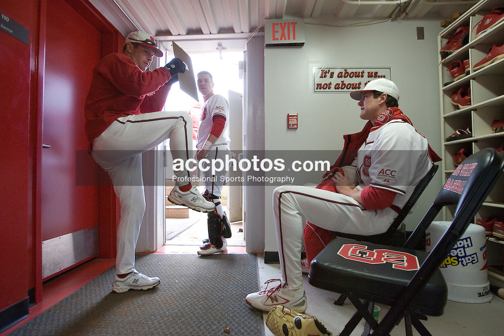 09 February 2007: North Carolina State Wolfpack RHP Andrew Brackman (40) keeps warm in the dugout in a frost day between innings in a 9-4 win over the William and Mary Tribe at Doak Field in Raleigh, NC.