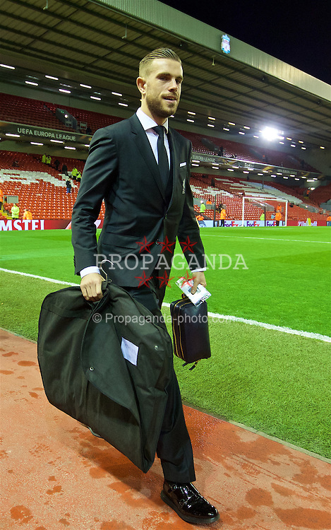 LIVERPOOL, ENGLAND - Thursday, March 10, 2016: Liverpool's captain Jordan Henderson arrives ahead of the UEFA Europa League Round of 16 1st Leg match against Manchester United at Anfield. (Pic by David Rawcliffe/Propaganda)