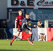 8th May 2018, Global Energy Stadium, Dingwall, Scotland; Scottish Premiership football, Ross County versus Dundee; Darren O'Dea of Dundee battles for the ball with Billy McKay of Ross County