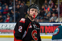 KELOWNA, BC - FEBRUARY 08: Cole Moberg #2 of the Prince George Cougars stands on the ice the Kelowna Rockets at Prospera Place on February 8, 2019 in Kelowna, Canada. (Photo by Marissa Baecker/Getty Images)