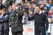 An unhappy Sheffield Wednesday head coach Carlos Carvalhal  during the Sky Bet Championship match between Huddersfield Town and Sheffield Wednesday at the John Smiths Stadium, Huddersfield, England on 2 April 2016. Photo by Simon Davies.