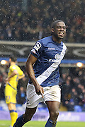 Birmingham City striker Clayton Donaldson (9) celebrates after scoring during the Sky Bet Championship match between Birmingham City and Sheffield Wednesday at St Andrews, Birmingham, England on 6 February 2016. Photo by Chris Wynne.