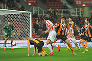 The ball skips away from Stoke City striker Ramadan Sobhi during the EFL Cup match between Stoke City and Hull City at the Britannia Stadium, Stoke-on-Trent, England on 21 September 2016. Photo by John Marfleet.
