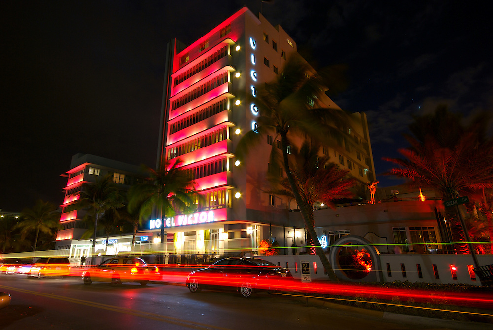 Victor Hotel in Miami Beach, the Hotel is located in worlwide famous Ocean Drive in South Beach, this is a tourist attraction in Miami, The hotel is a typical art deco building.
