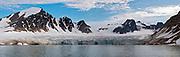 Kennedy Glacier in Smeerenburg fjord, north-western Spitsbergen, Svalbard i eraly August 2012.