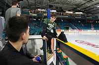 KAMLOOPS, CANADA - NOVEMBER 5:  Connor Dewar #43 of Team WHL sits on the bench prior to the game against the Team Russia on November 5, 2018 at Sandman Centre in Kamloops, British Columbia, Canada.  (Photo by Marissa Baecker/Shoot the Breeze)