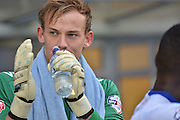 Christian Walton applauds the fans during the Sky Bet League 1 match between Bury and Fleetwood Town at Gigg Lane, Bury, England on 18 August 2015. Photo by Mark Pollitt.