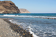 Coastal view headlands and waves Las Negras, Cabo de Gata natural park, Almeria, Spain